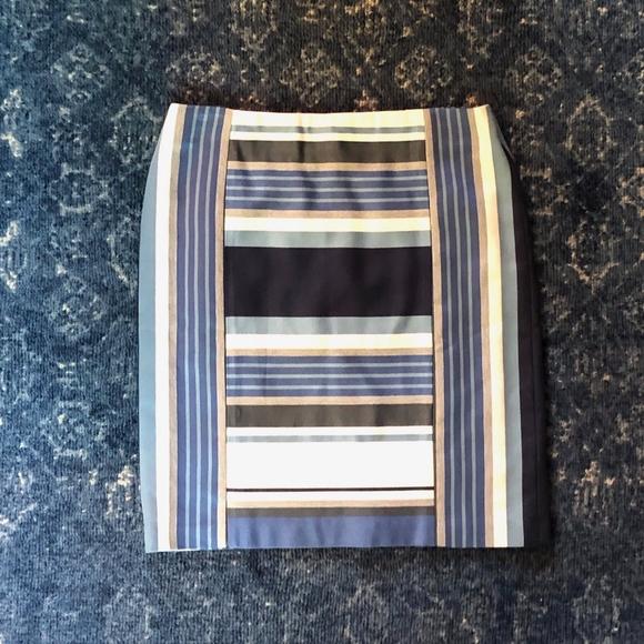 J McLaughlin Blue Stripe Martinique Skirt Sz 8